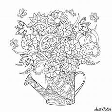 watering can with flowers flowers coloring pages