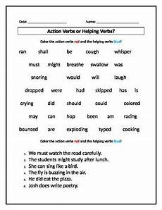 action verbs or helping verbs worksheet by s stuff tpt