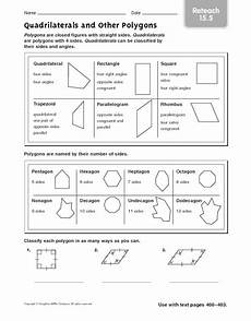 quadrilaterals and other polygons reteach worksheet for