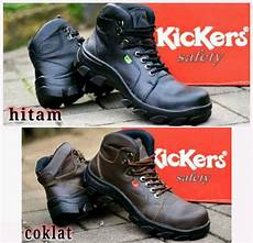 jual kickers safety boots tracking motor kerja kulit asli 3 warna hitam coklat ujung besi