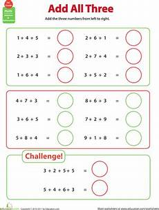1st grade math worksheet adding 3 numbers add all three adding three numbers addition worksheets