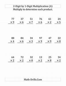 multiplication worksheets one digit by two digits 4536 multiplying a 2 digit number by a 1 digit number large print a