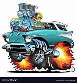 Classic Fifties Hot Rod Muscle Car Cartoon Vector Image