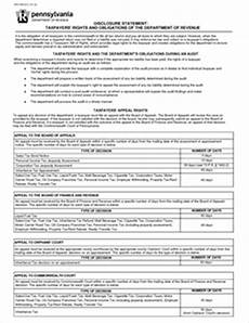 form rev 554 fillable disclosure statement taxpayers rights and obligations of the pa
