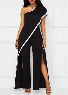black one shoulder slit jumpsuit on sale only us 36