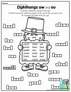 diphthongs ow and ou box up the words a fun way to build literacy in 2nd grade second grade