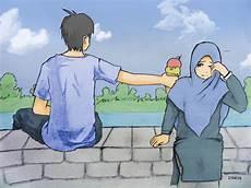 20 Gambar Kartun Muslim Pasangan Romantis Koleksi Kekinian