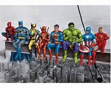 Superheroes On Girder Poster Original Artwork Based On Marvel