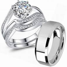 couple wedding ring sets his and hers 925 sterling silver men s stainless steel ebay