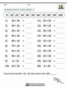 addition activity worksheets for grade 1 9406 adding tens