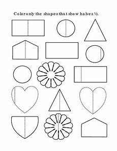 shapes in half worksheets 1140 kindergarten math fractions halves color half shapes tools for common print