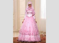Long Sleeve Ball Gown Flowers Muslim Wedding Dress
