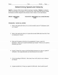 determining speed and velocity problems with answer key by