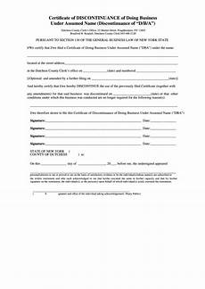 fillable certificate of discontinuance of doing business