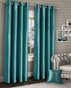 Teal Drapes Curtains by Stylish Ring Top Eyelet Lined Curtains Plain Faux Silk