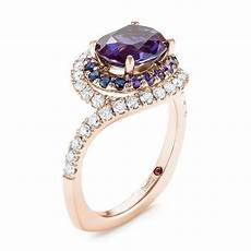 18k rose gold custom alexandrite blue and purple sapphire and diamond halo engagement ring