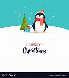 cute penguin merry christmas greeting card vector image