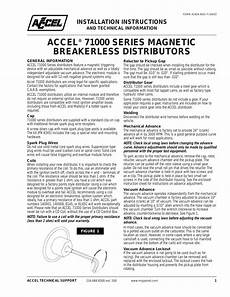 mallory ignition accel magnetic breakerless distributors 71000 user manual 2 pages