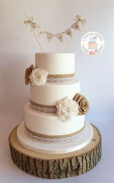 rustic vintage wedding cake with made lace and hessian roses facebook com cakesbyberina