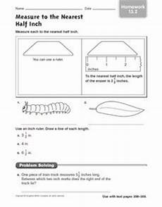 measurement to half inch worksheets 1480 measurement to the nearest half inch 3rd grade worksheet lesson planet