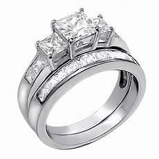 2 pcs princess cut 925 sterling silver wedding engagement rings band ebay