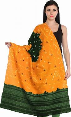 Bandhani Tie Dye Shawl From Kutch With Embroidered Mirrors