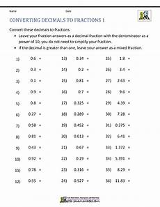 worksheet decimals to fractions 7304 converting decimals to fractions worksheet