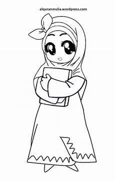 Mewarnai Gambar Kartun Anak Muslimah 25 Alqur Anmulia