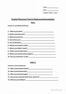 placement test for basic 1 level english esl worksheets