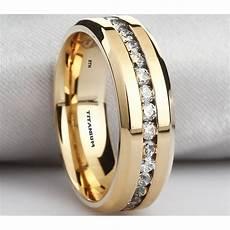 mens titanium ring 8mm wide simulated diamonds classic unisex gold gp wedding engagement band ring