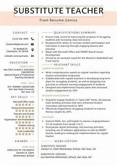 substitute teacher resume sles writing guide resume genius
