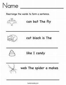 rearrange the words to form a sentence writing sentences worksheets jumbled words english