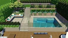 Garden And Pools - terrace garden with swimming pool