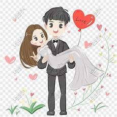 Kartun Pernikahan Romantis Tangan Ditarik Gambar Unduh