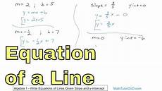 01 write equations of lines given slope and y intercept youtube