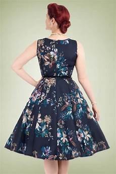 50s hepburn lily swing dress in navy