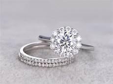 3pcs moissanite wedding ring diamond matching band