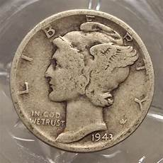 very good 1943 p 90 silver winged liberty mercury dime