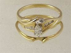14 kt solid gold marquise diamond engagement interlocking wedding band ring ebay