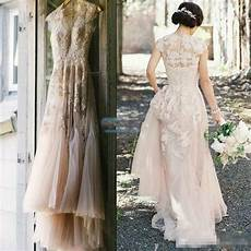 vintage blush tulle wedding dresses 2016 cap sleeve