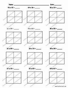 math worksheets lattice multiplication 4485 lattice multiplication 2 digit by 2 digit 10 pages lattice multiplication multiplication