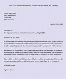 gesch 228 ftsbrief text musterbrief reklamation muster