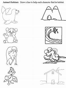worksheet that connects animal with habitat preschool animal habitats pinterest activities