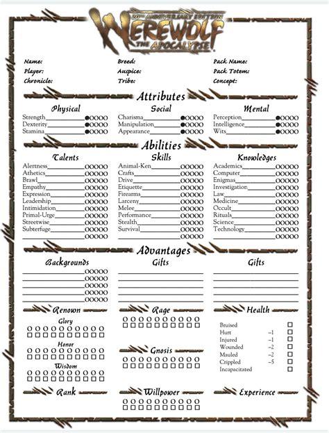 Apocalypse Character Sheet