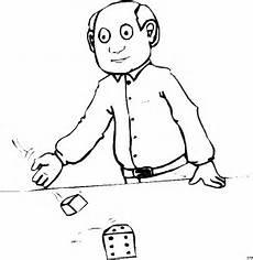 mann wirft wuerfel ausmalbild malvorlage comics