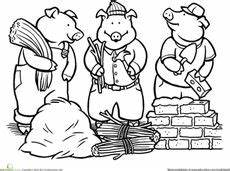 fairytale themed coloring pages 14942 3 pigs retelling a story storyboard and character blackline and color copies