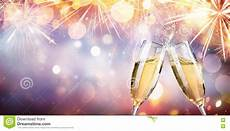 congratulation with chagne toast with flutes stock