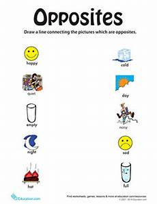 identifying opposites from happy to full worksheet education com