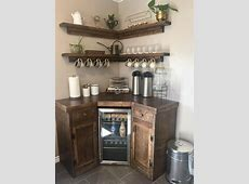 Corner Coffee Station with Floating Shelves ? Custom