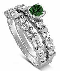 1 carat emerald and diamond wedding ring in